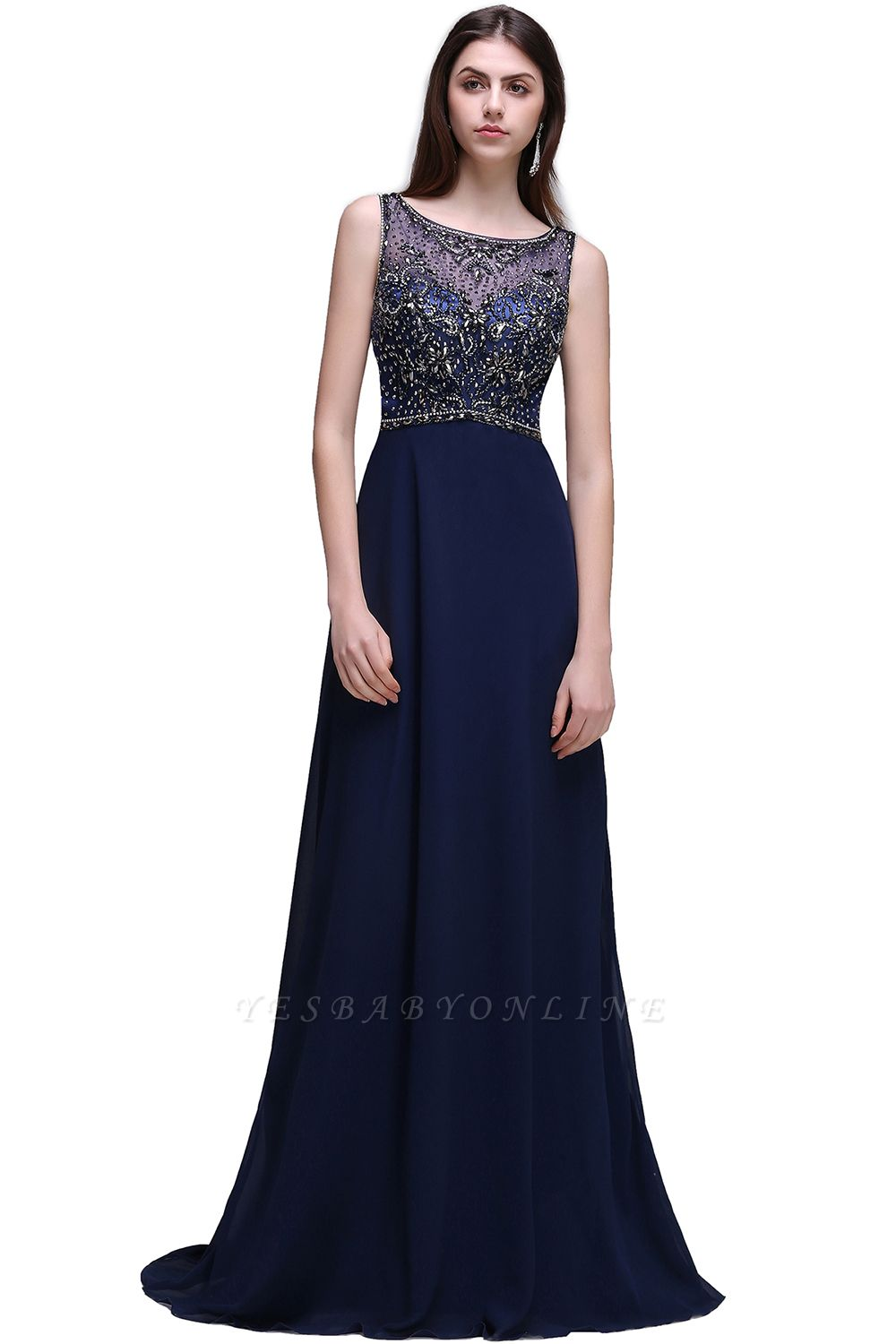 A-line Long Chiffon Dark Navy Vintage Prom Dresses with Rhinestones