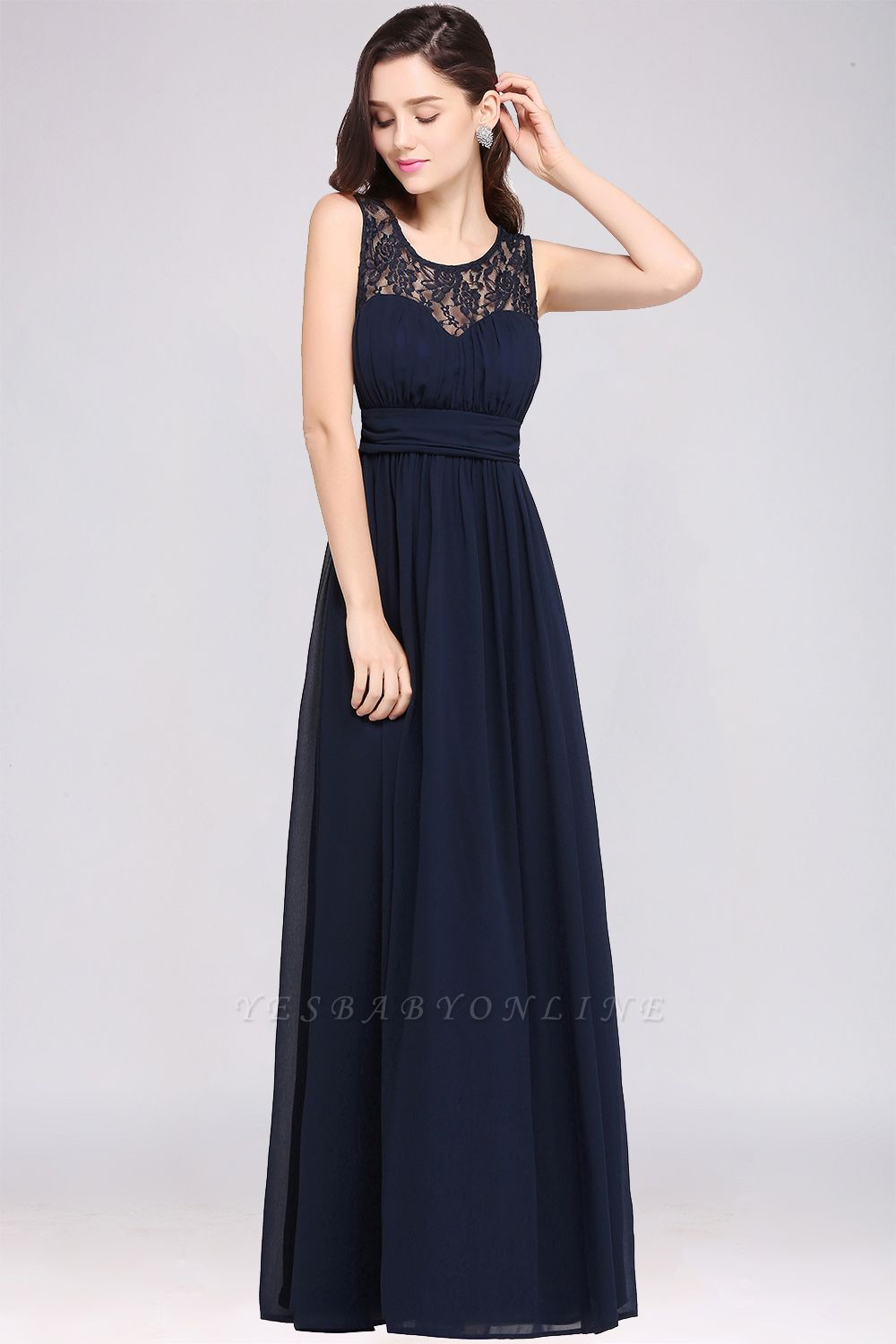 CHELSEA | Cheap Long Lace Prom Dress | Afforable Chiffon Lace Evening Dress