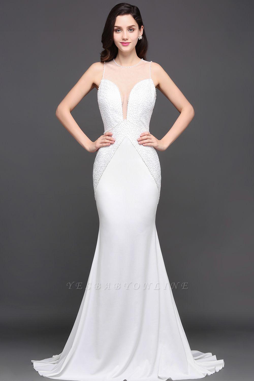 Mermaid Scoop Chiffon White Evening Dress With Beadings