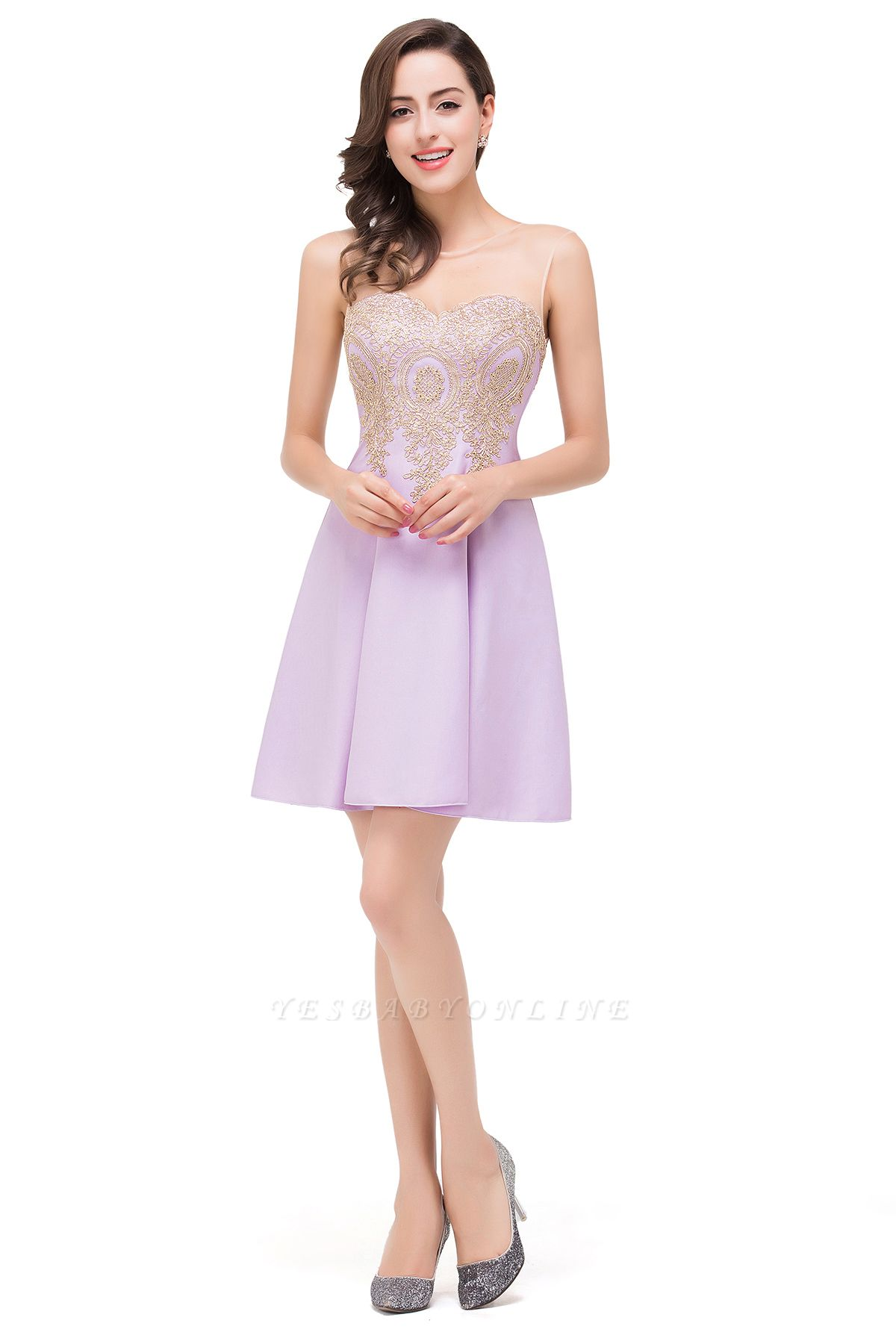 Cheap Short Applique Sleeveless Prom Homecoming Dress in Stock