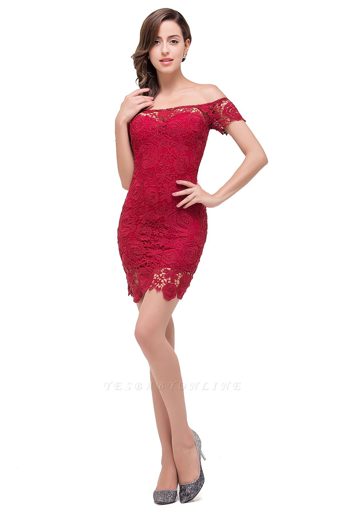 FERNANDA | Mermaid Off Shoulder Short Burgundy Lace Prom Dresses
