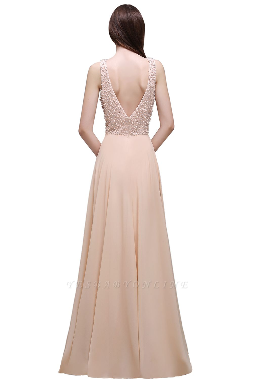 Sheath Sheer Chiffon Long Evening Dresses With Pearls