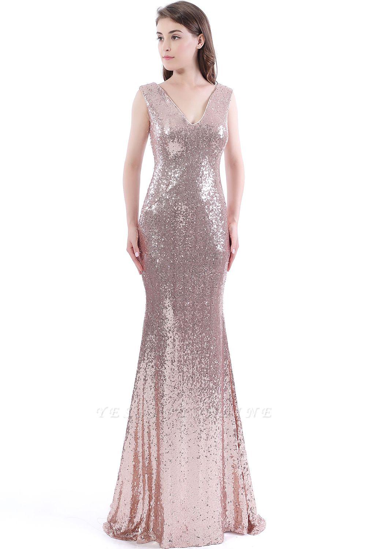Mermaid Floor Length V-Neck Long Sequins Prom Dresses