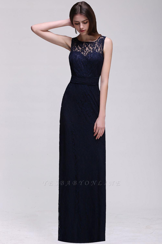 Simple Dark Navy Lace Bridesmaid Dresses Sleeveless Sheath Long Prom Dresses
