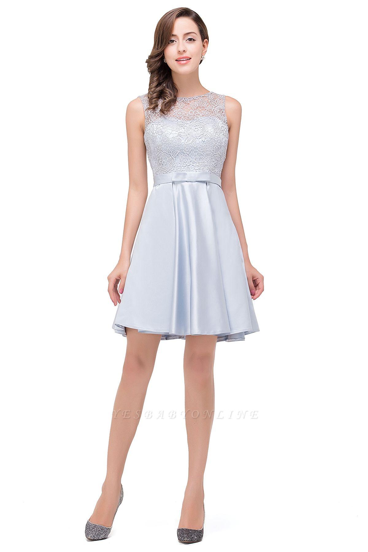 A-Line Knee Length Sleeveless Lace Short Prom Dresses