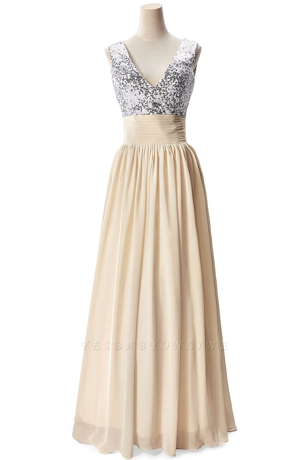 A-line V-neck Chiffon Party Dress With Sequined