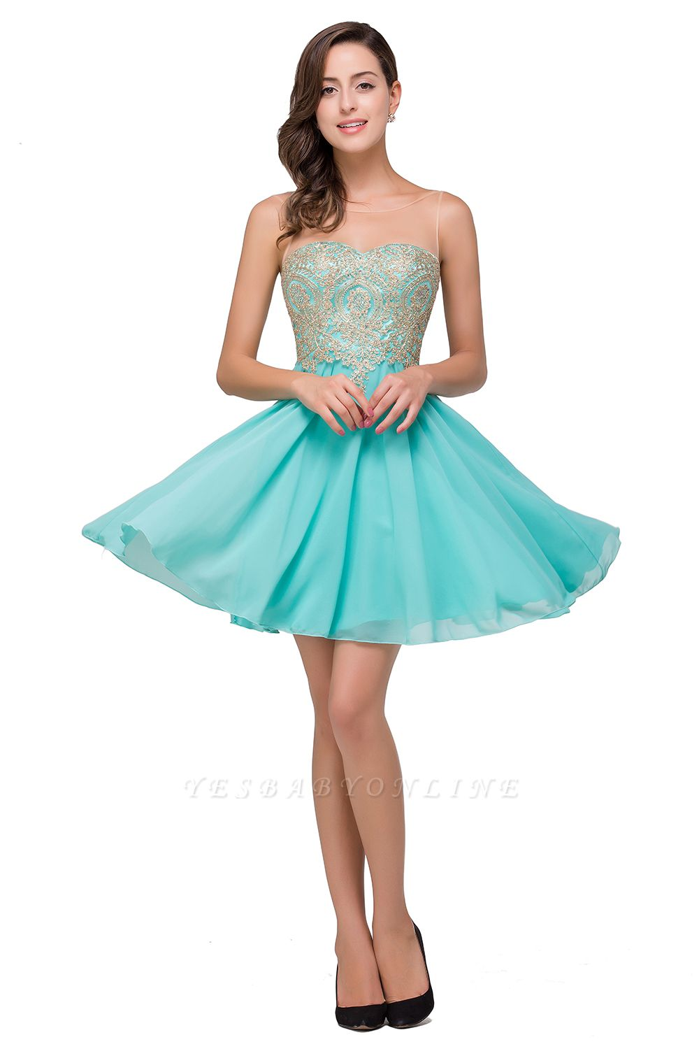 A-line Sleeveless Short Chiffon Prom Dresses with Appliques