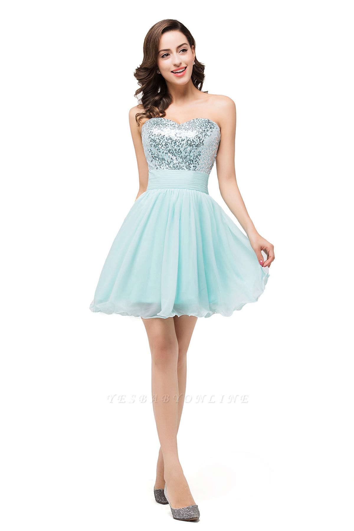 Ruffled Strapless Short Cute  Bridesmaid Sequined Prom Dress