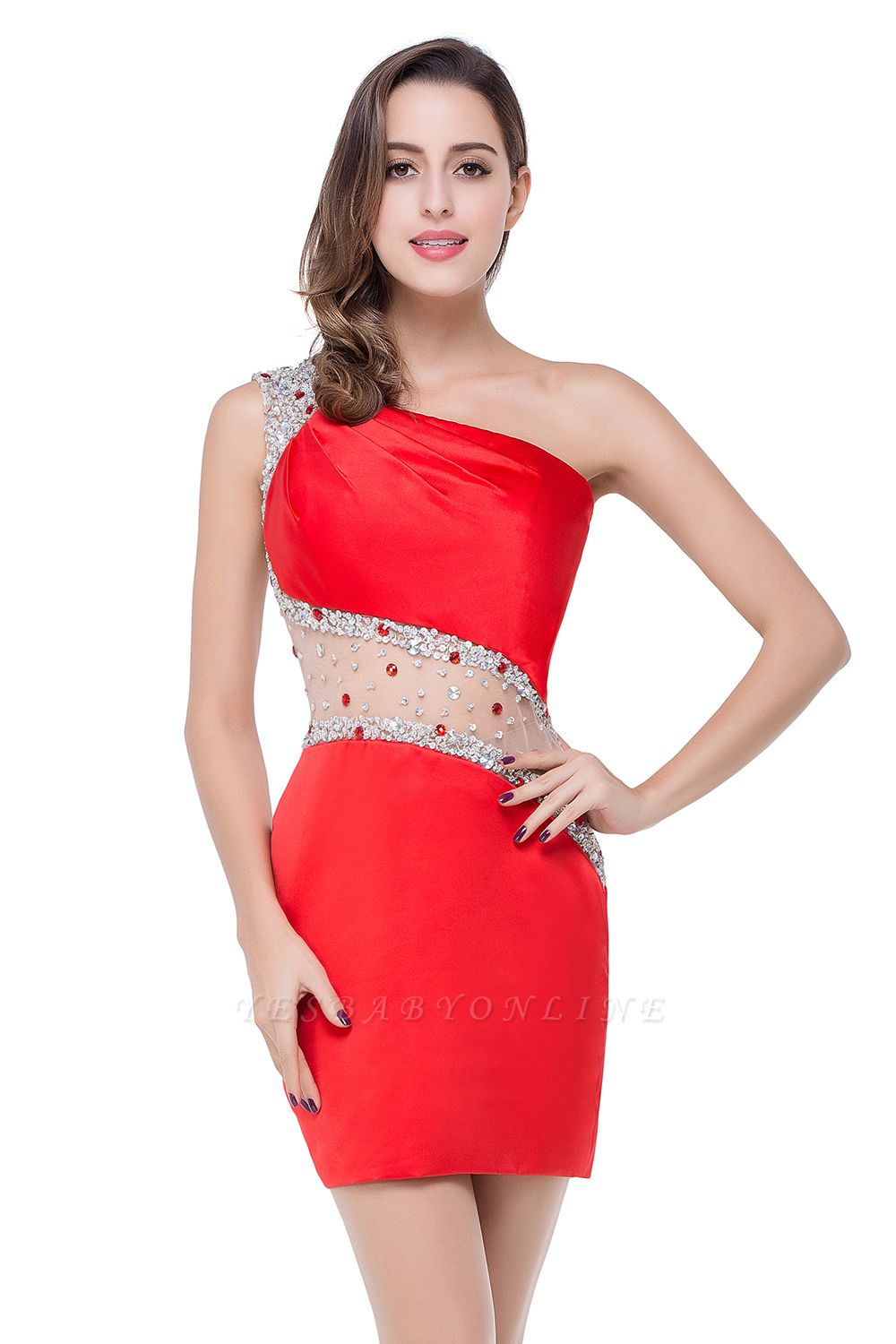 Cheap Cheap Crystal Beading One-shoulder Short Mermaid Prom Dress in Stock