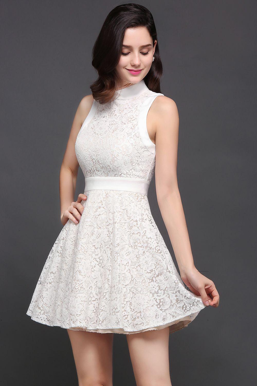 Princess High neck Knee-length White Cute Homecoming Dress