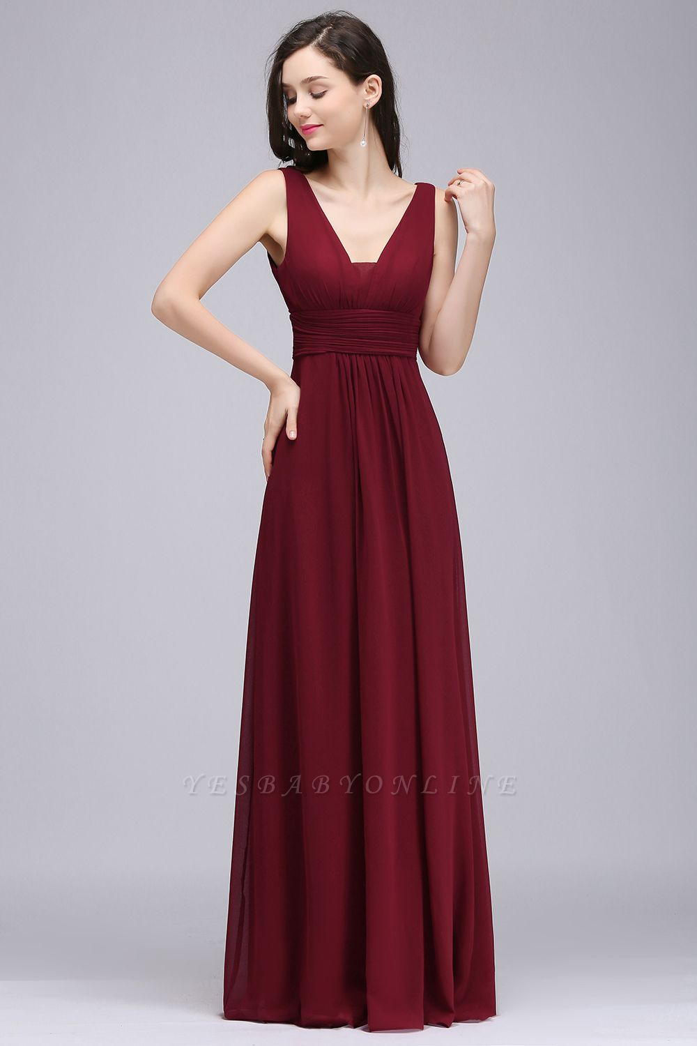 ALEXA | Sheath V Neck Burgundy Chiffon Long Evening Dresses