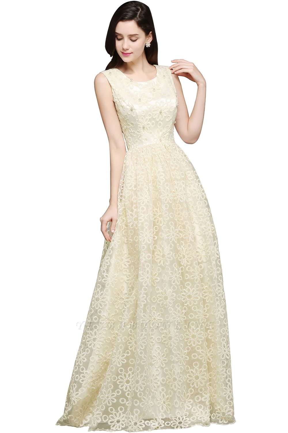 A-line Scoop Floor Length Evening Dress With Lace