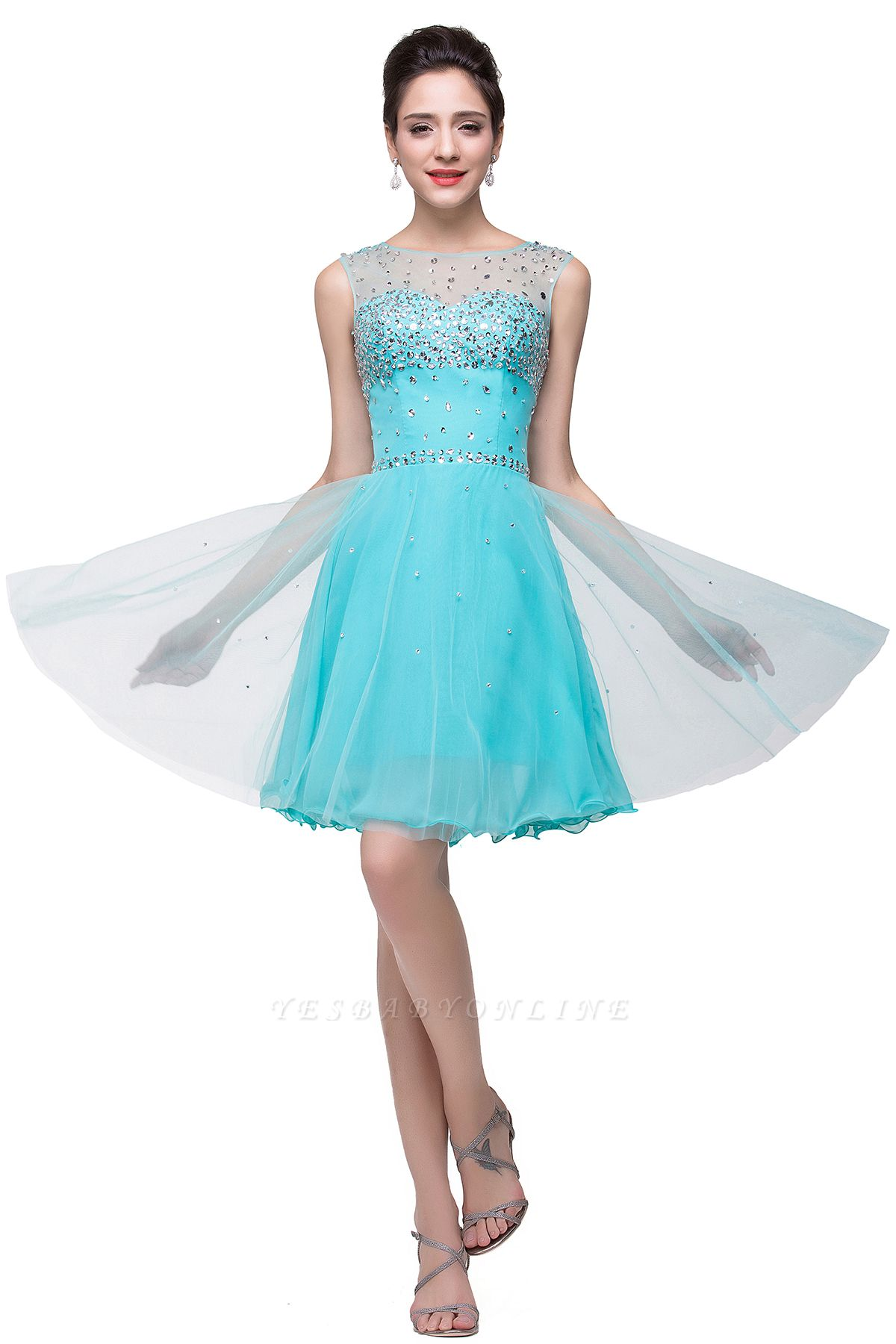 Cheap Open Back Sleeveless Chiffon Homecoming Dress Crystal Beads Tulle Short Prom Dress in Stock