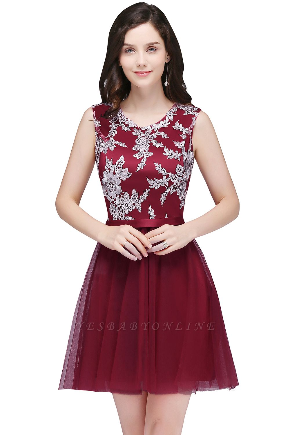 Cheap Pink Short Homecoming Dress with Lace Appliques in Stock
