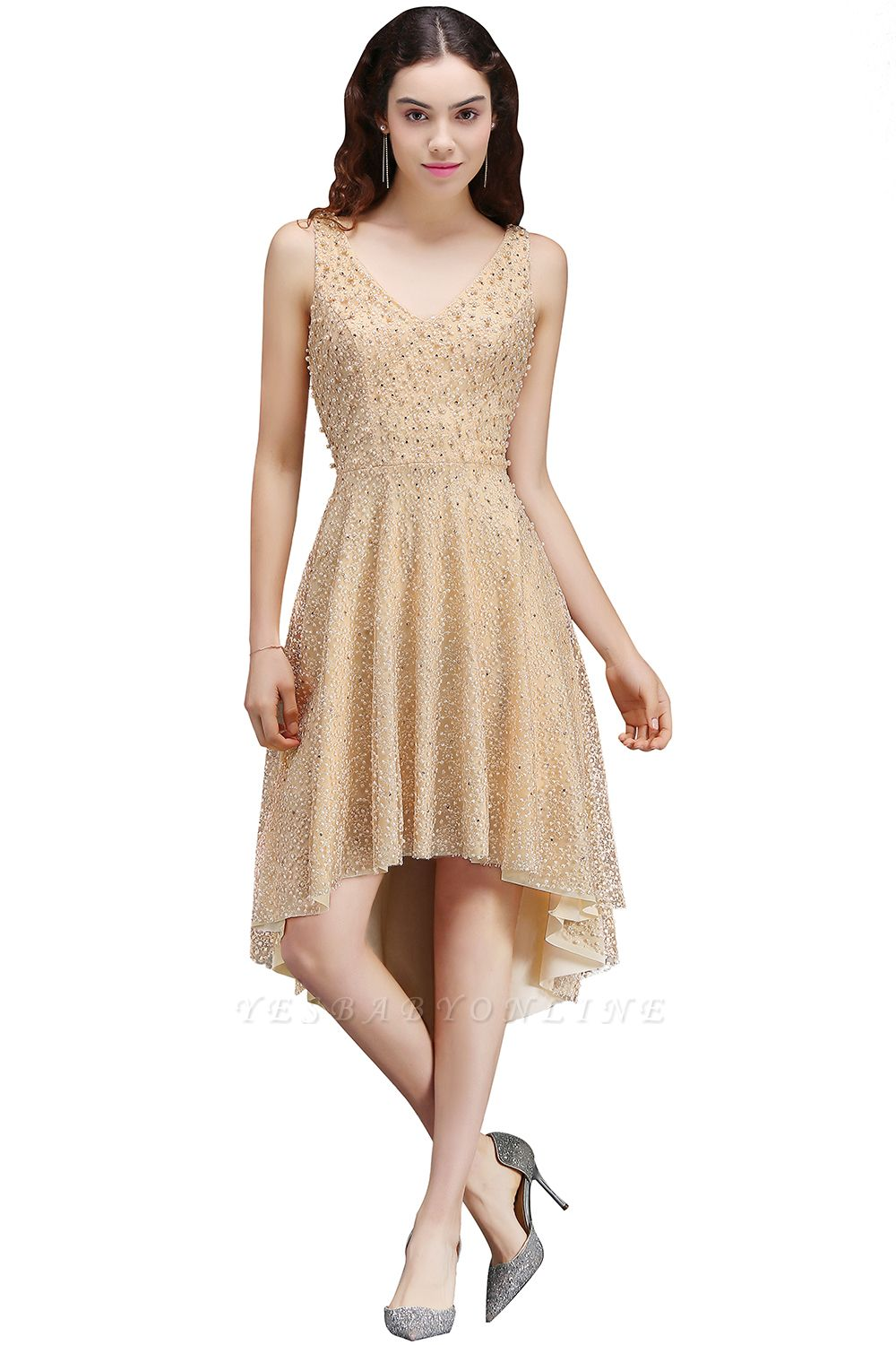 A-line Hi-Lo Popular Homecoming Dress With Pearls