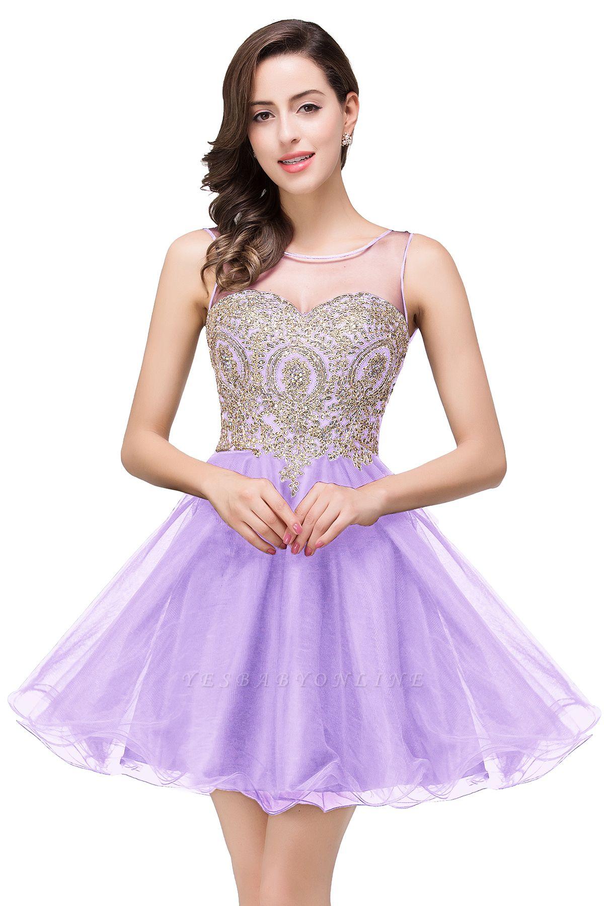 ESTRELLA | A-line Crew Short Sleeveless Appliques Prom Dress