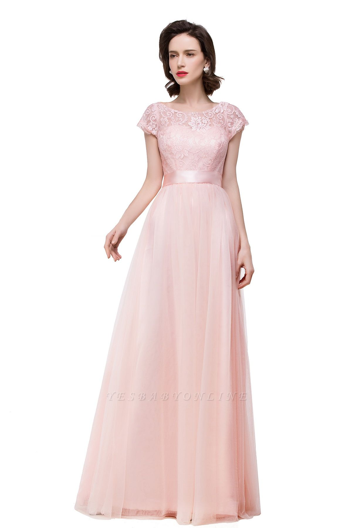 ELLIANA | Elegant Short Sleeves A-line Chiffon Bridesmaid Dresses with Ribbon Bow Sash