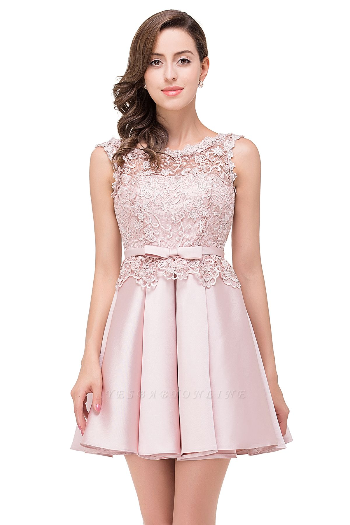 Cheap A-line Knee-length Satin Homecoming Dress with Lace in Stock