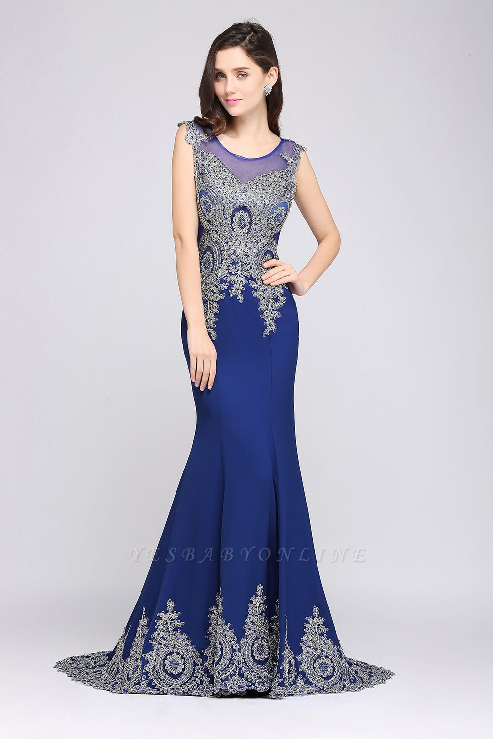 Mermaid Scoop Sweep Train Royal Blue Prom Dresses with Appliques