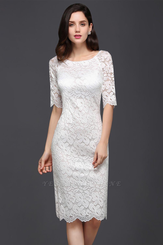 Lace Sleeve Short Knee-length Fashion Ivory Jewel Evening Dresses