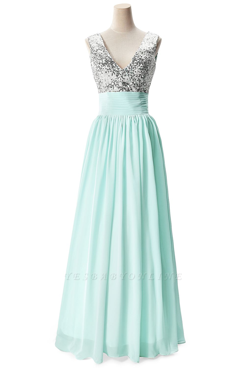 Cheap A-line V-neck Chiffon Party Dress With Sequined in Stock