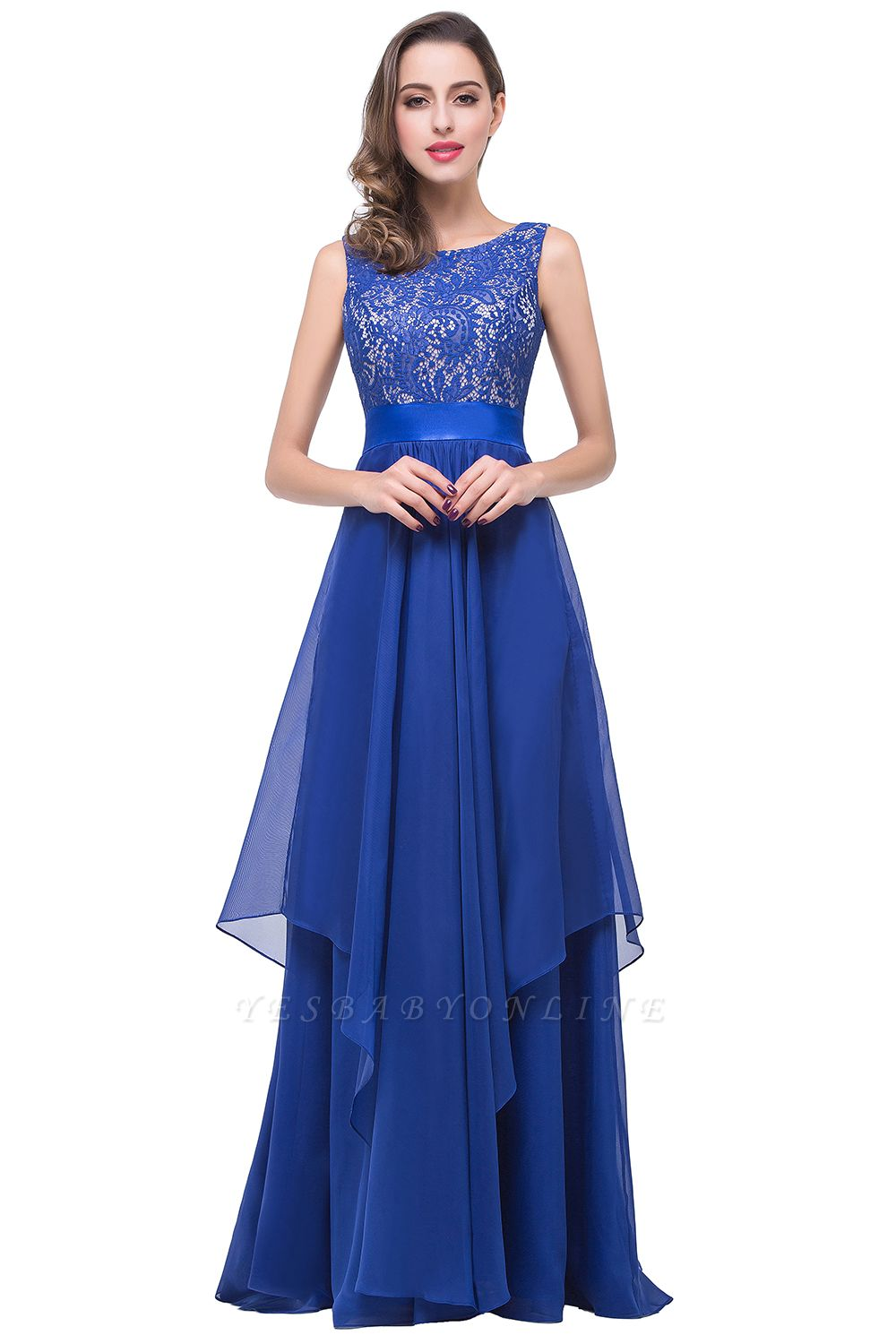 ADDISON | Affordable A-line Floor-length Chiffon Evening Dress with Lace