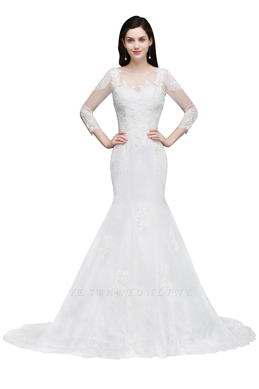 Mermaid Jewel White Wedding Dress With Lace