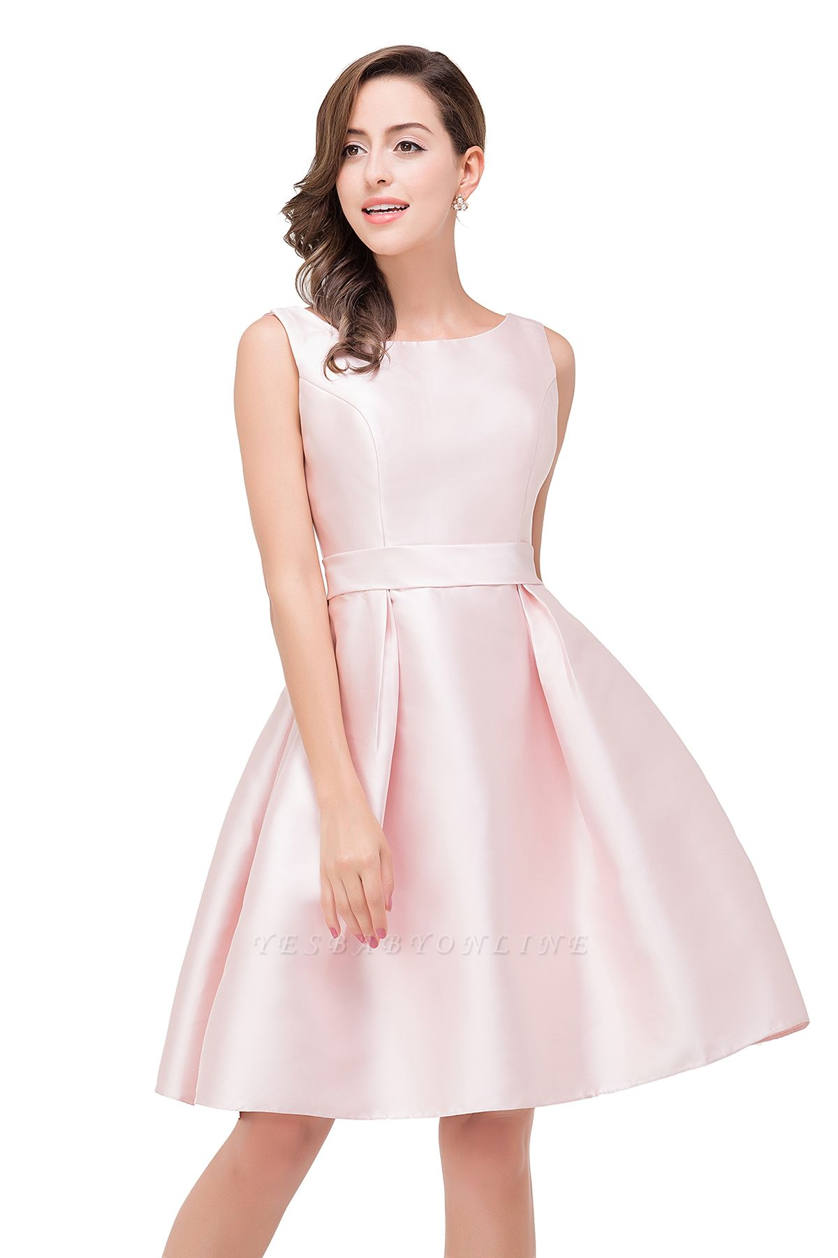 Sleeveless Knee-length Simple Scoop-neck Short with-Belt Prom Gown