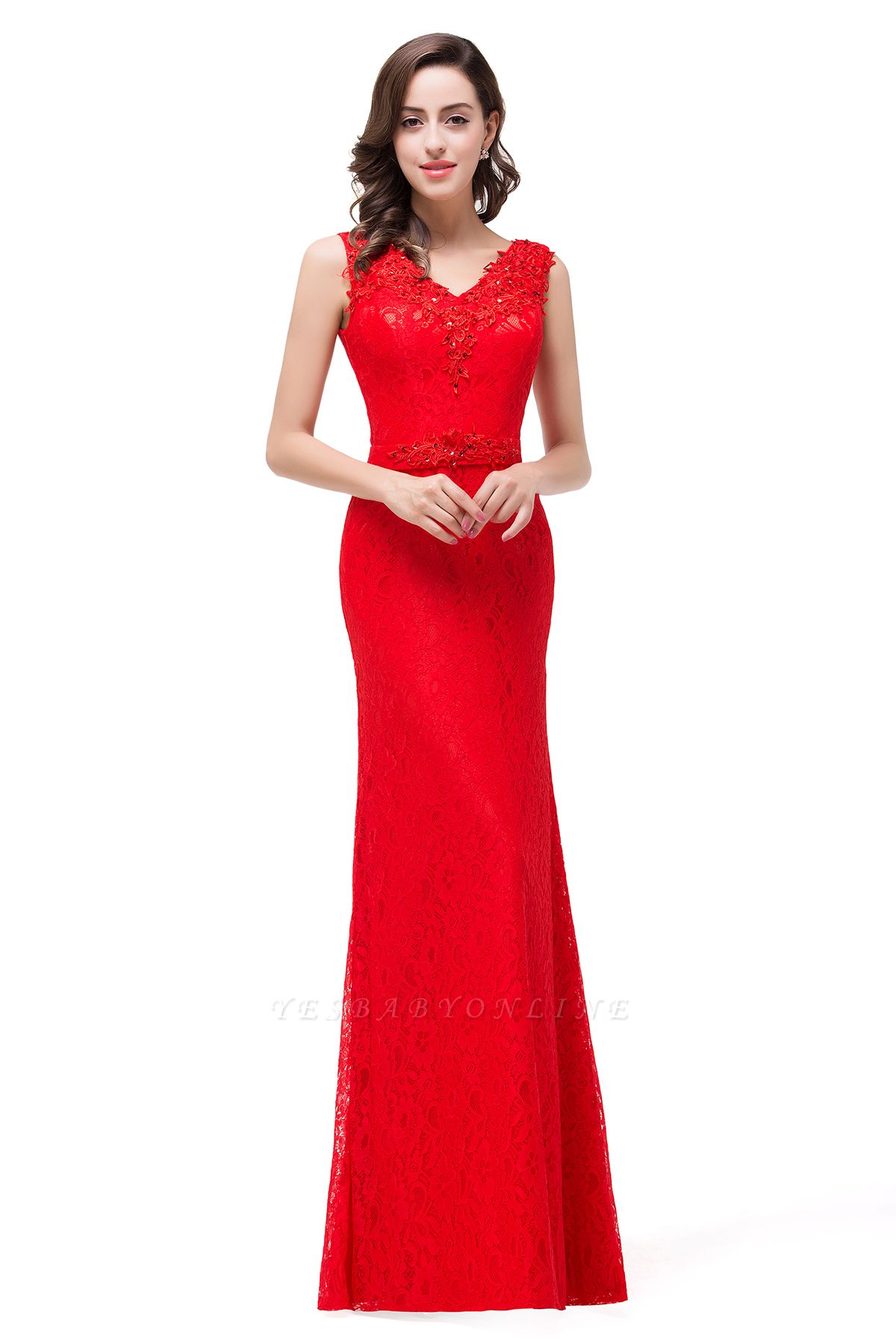 Long V-neck Floor-length Red Two-straps Sleeveless Prom Dress