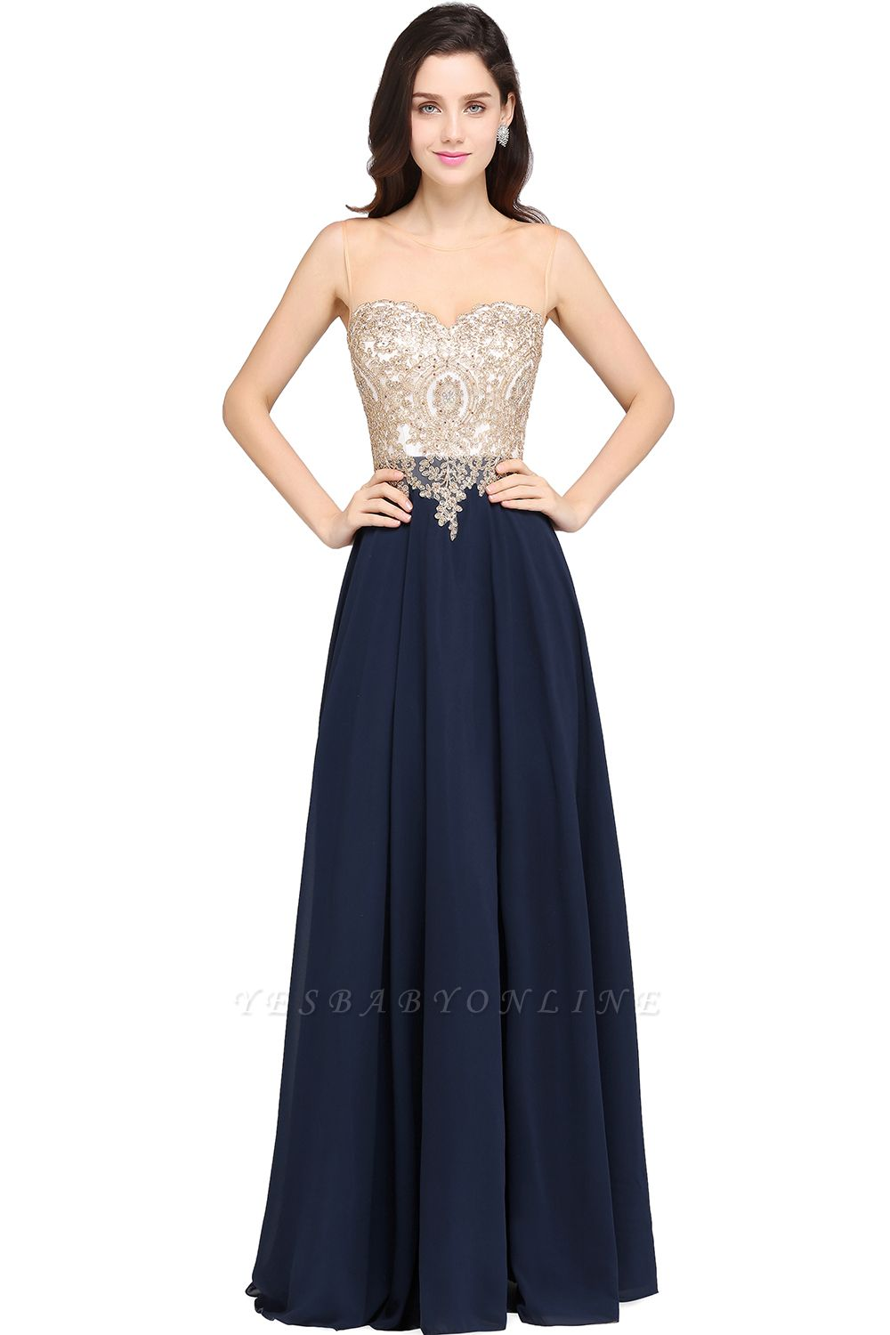 Cheap Sheer Tulle A-line Chiffon Beads Lace Appliques Sleeveless Long Evening Dress in Stock