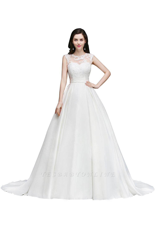 ELIZABETH | A-line Sleeveless Floor-length Chiffon Lace Wedding Dresses