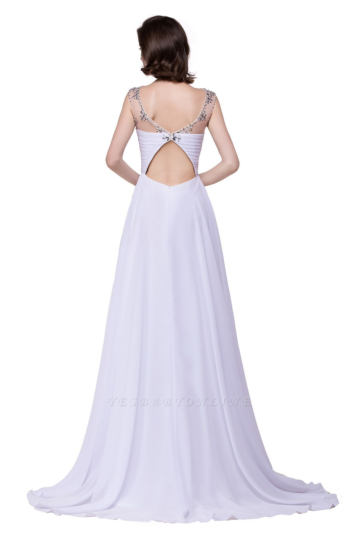 Cheap A-line Sweetheart Chiffon Evening Dress With Crystal in Stock