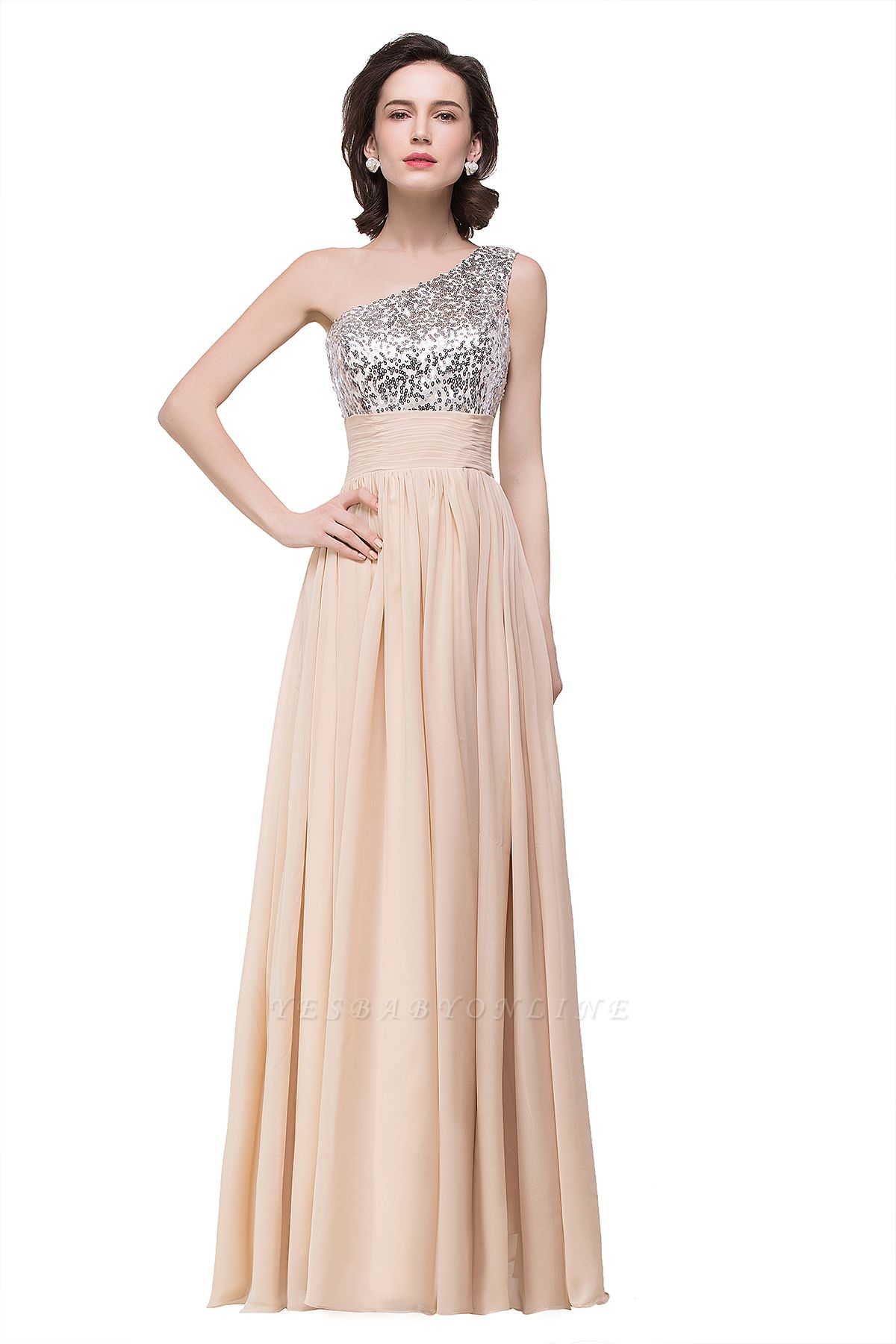 Cheap A-line Floor-length Chiffon Evening Dress with Sequined in Stock
