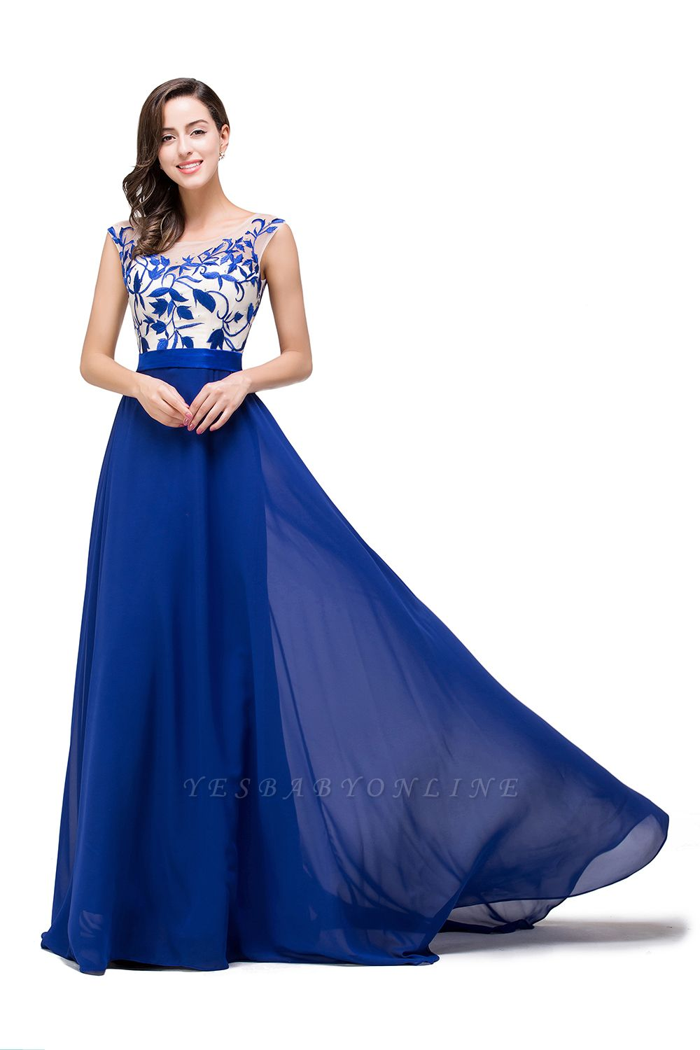 EMILIE | A-Line Floor-Length Sleeveless Chiffon Prom Dresses with Lace-Appliques