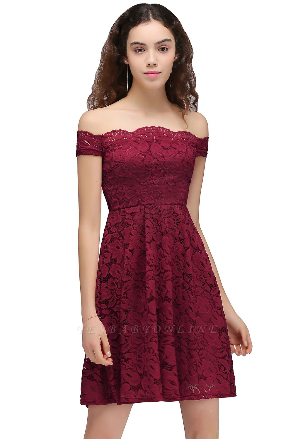 Cheap A-Line Off-the-shoulder Short Burgundy Lace Homecoming Dress in Stock