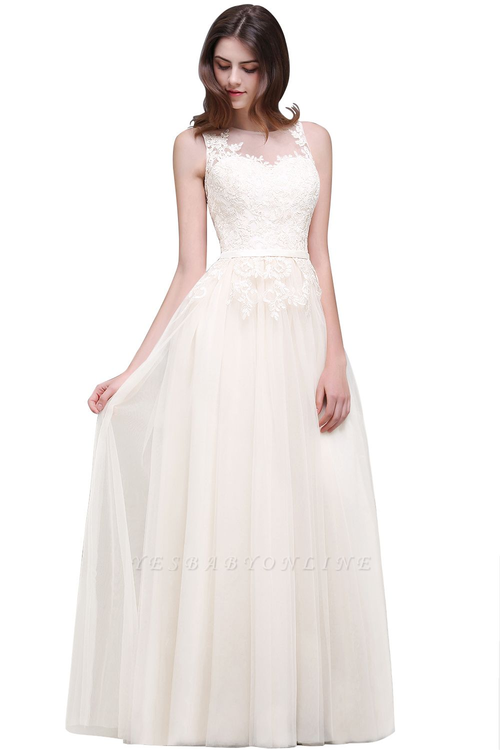 Lace-Appliques Prom Champagne Charming Sleeveless  Scoop-Neckline Party Dress
