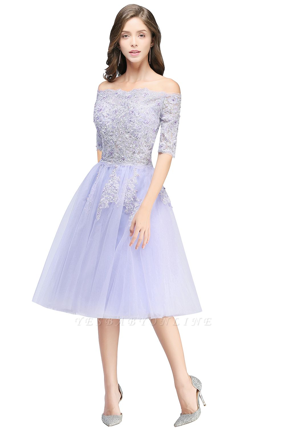 Cheap A-line Short Sleeves Tulle Lace Flower Girl Dress in Stock
