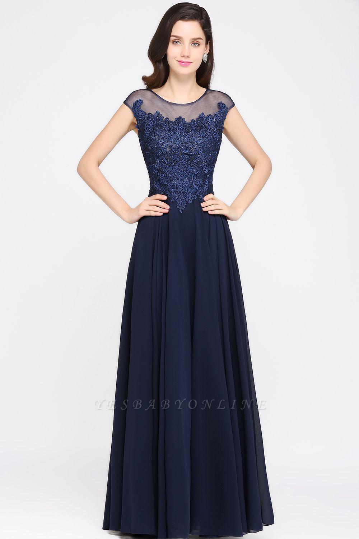 Cheap Cap Sleeve Lace Appliques Long Chiffon Evening Dress in Stock