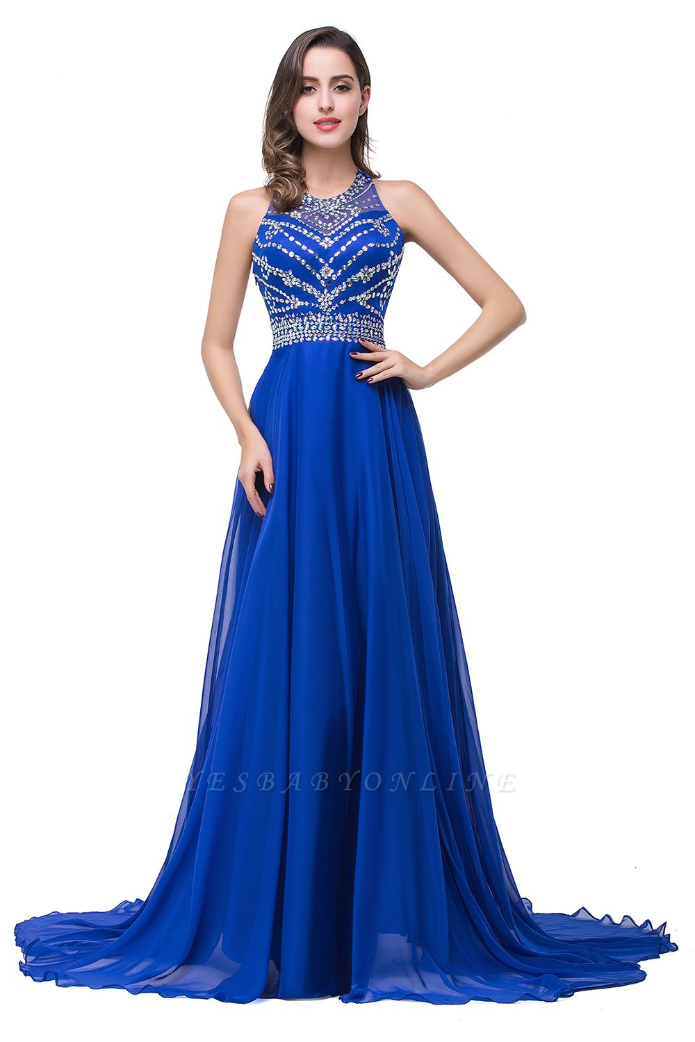 ELLA | A-line Crew Floor-length Sleeveless Tulle Prom Dresses with Crystal Beads