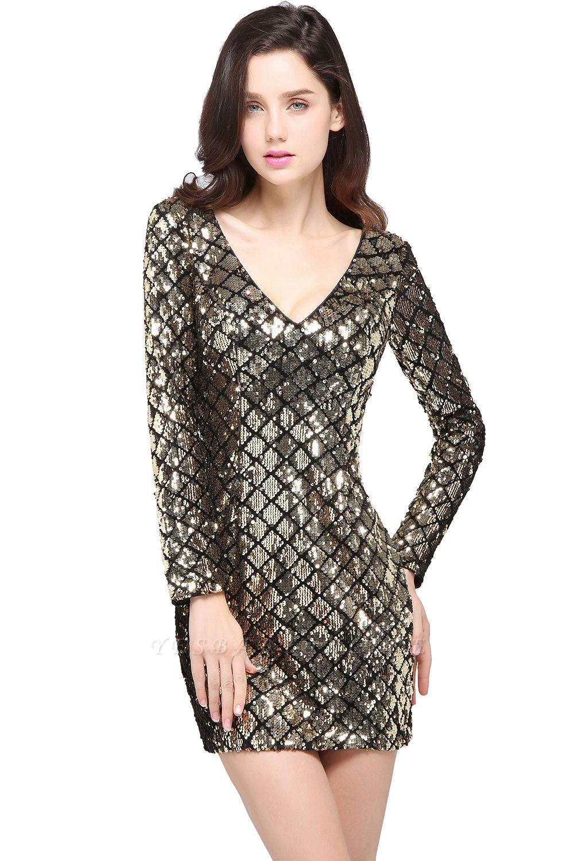ALONDRA   Sheath V-Neck Sequins Cocktail Dresses