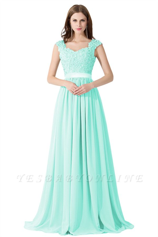 Cheap A-line V Neck Chiffon Bridesmaid Dress with Appliques in Stock