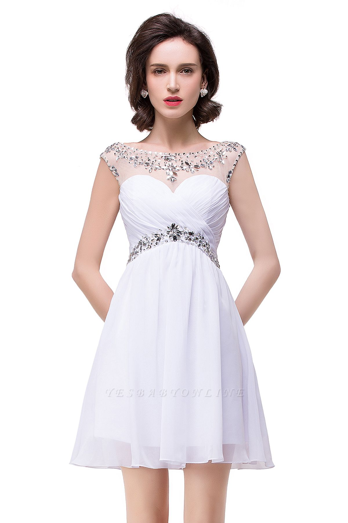 Cheap A-line Jewel Chiffon Party Dress With Crystal in Stock
