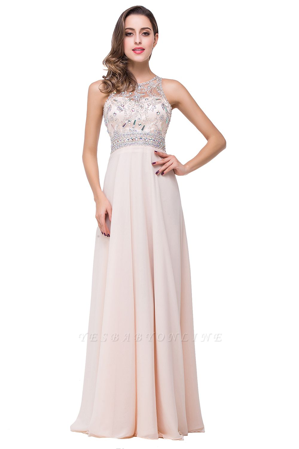 Cheap A-line Jewel Chiffon Prom Dress with Beading in Stock