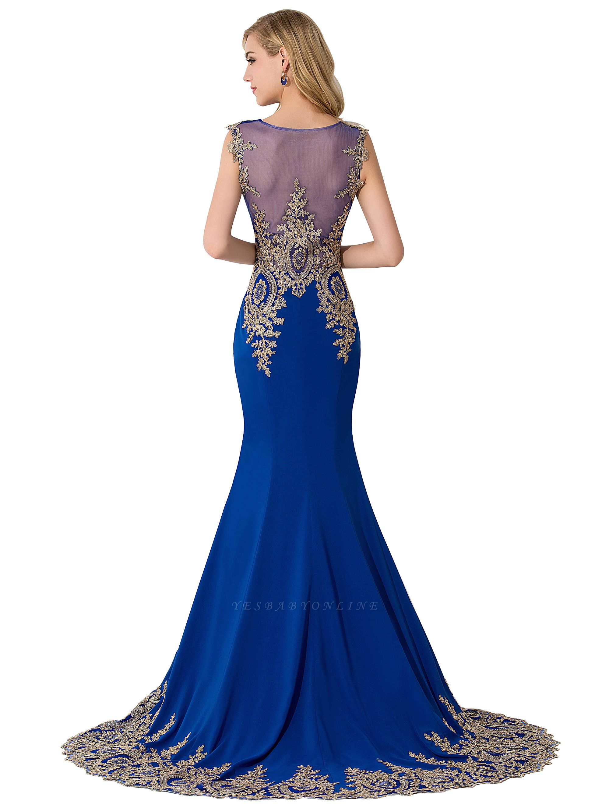 Cheap Mermaid Court Train Chiffon Evening Dress with Appliques in Stock