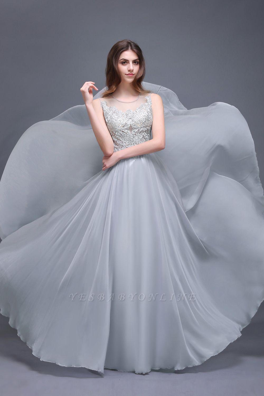 Cheap Gorgeous Lace Chiffon Long Prom Dress in Stock