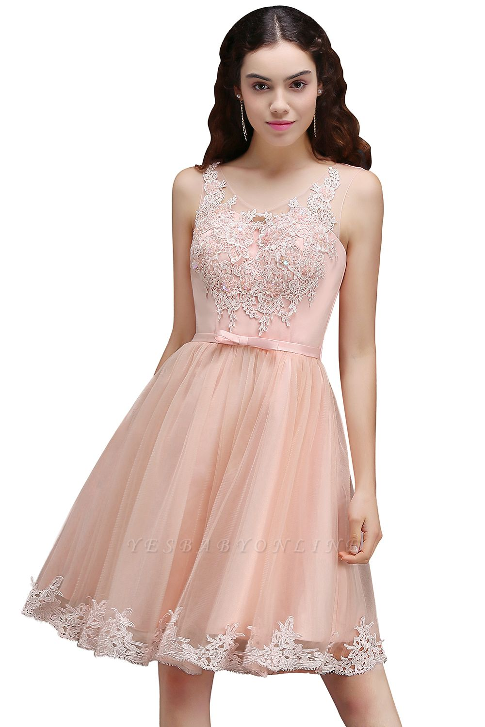 ANIYAH | A-line Short Cute Homecoming Dress With Lace