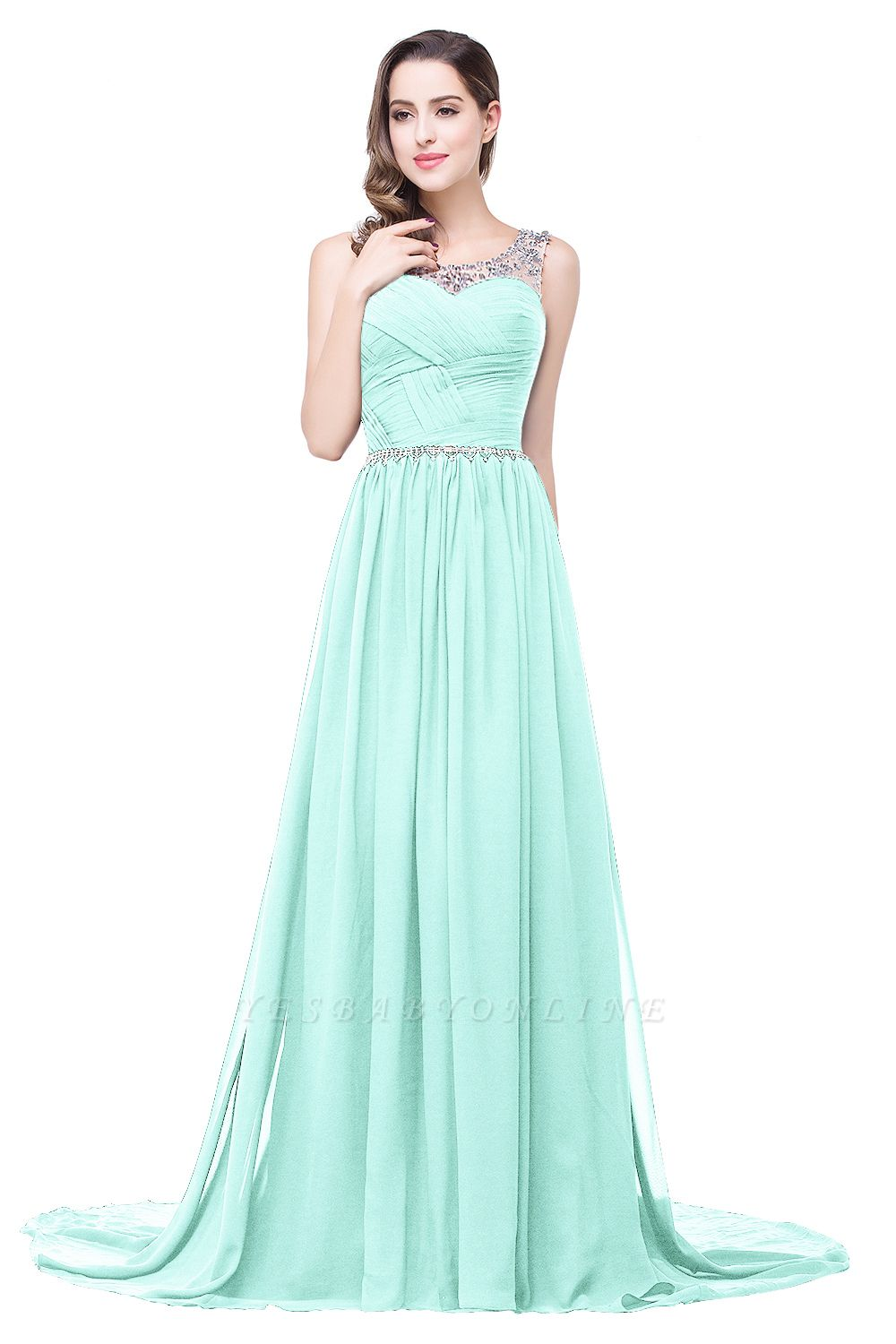 A-line Court Train Chiffon Cheap Party Dress With  Beading