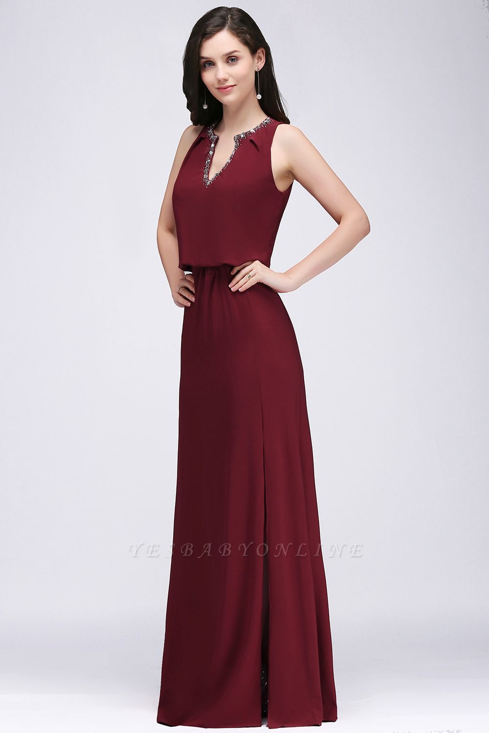 Cheap Front-split Crystal Floor-length V-neck Sleeveless Burgundy A-line Evening Dress in Stock