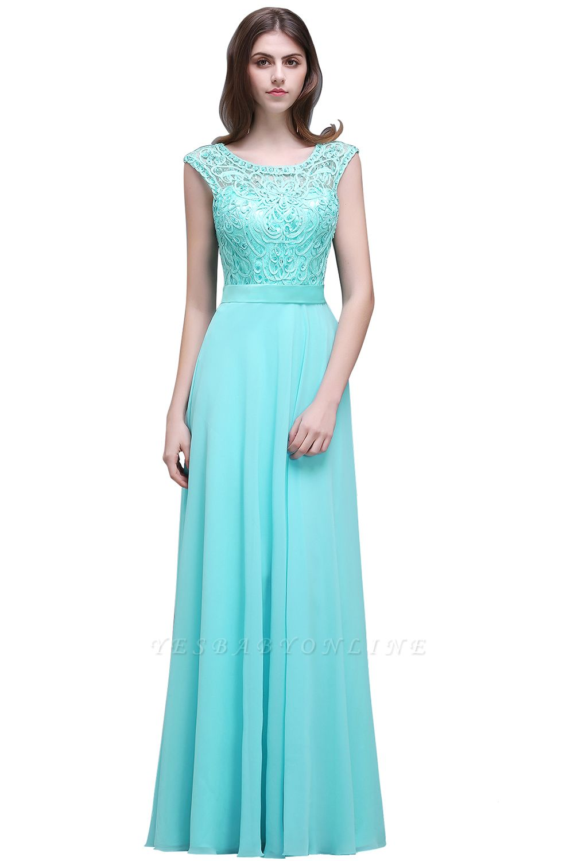 A-Line Lace-Appliques Chiffon Scoop Glamorous prom dresses