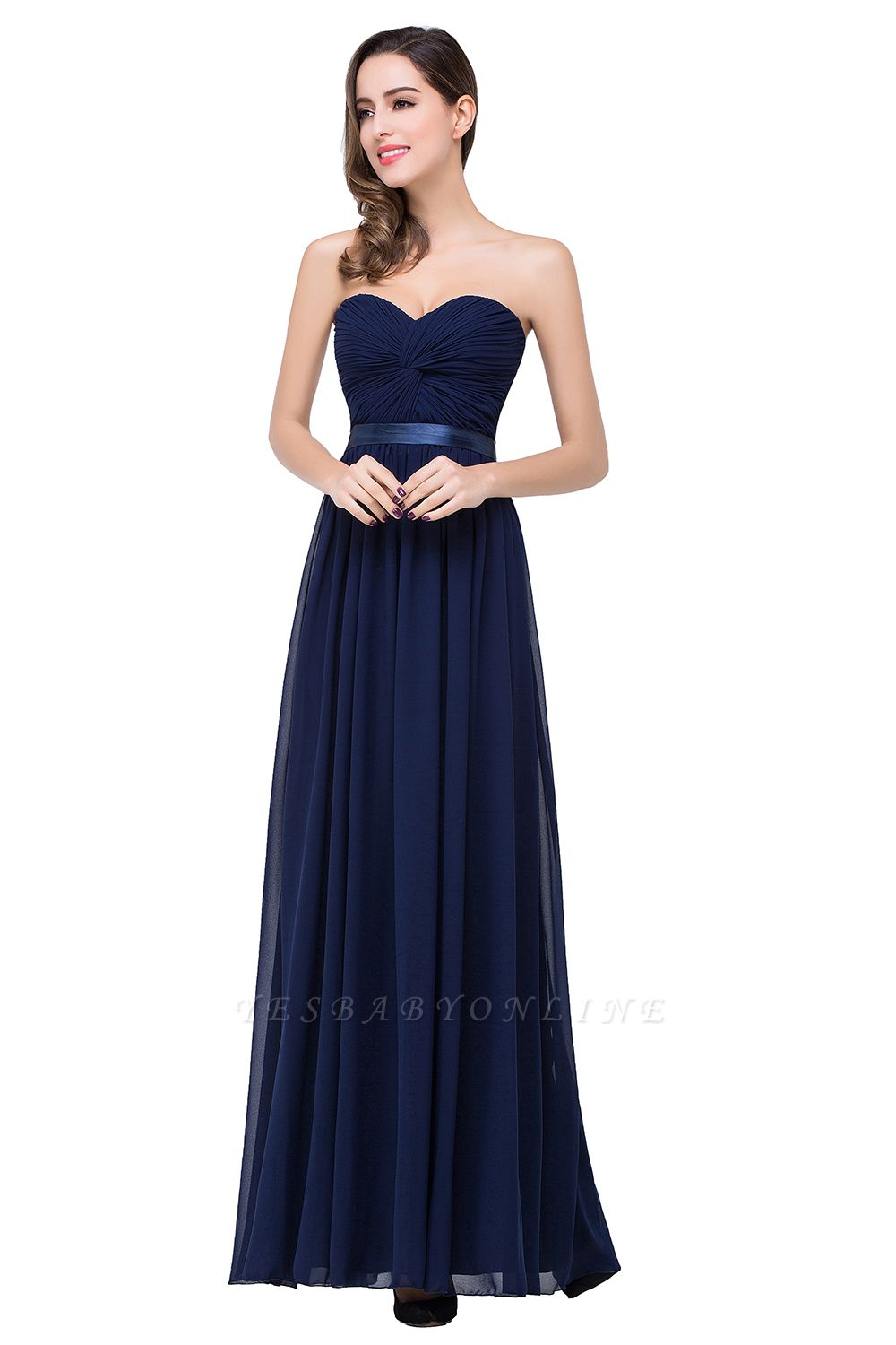 ADELINA | Simple A-line Strapless Chiffon Bridesmaid Dress with Draped